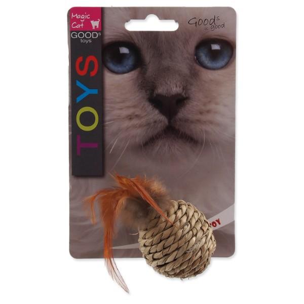 Magic Cat pletena žoga + perje z mačjo meto, mix - 9 cm