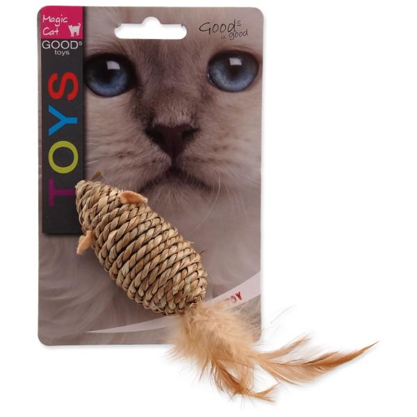 Magic Cat pletena miš + perje z mačjo meto, mix - 18 cm