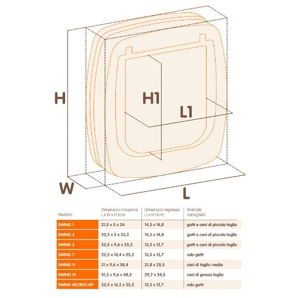 Ferplast Swing 7 vgradna vrata z magnetnim ključem, rjava - 22,5 x 10,4 x 25,2 cm