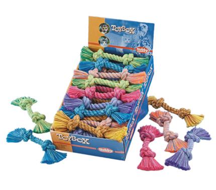Nobby igralna vrv z dvema vozloma, mix - 50 g