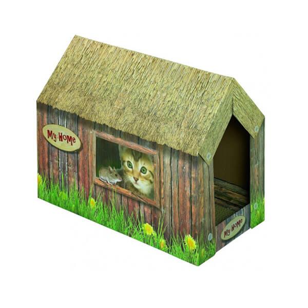 Nobby praskalnik v kartonu z mačjo meto v obliki hišice - 49 x 26 x 36 cm