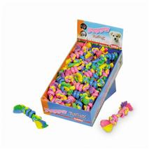 Nobby igralna vrv z dvema vozloma in gumi obročkoma - 16 cm