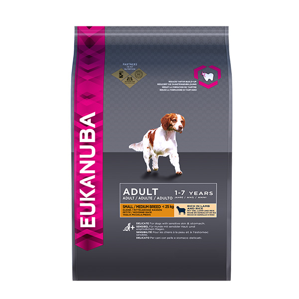 Eukanuba Adult Small/Medium - jagnjetina in riž 2,5 kg