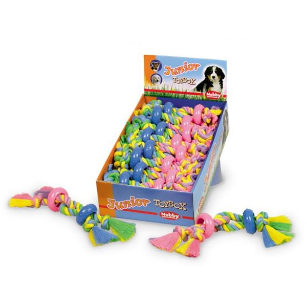 Nobby igralna vrv z dvema vozloma in gumi obročkoma - 30 cm