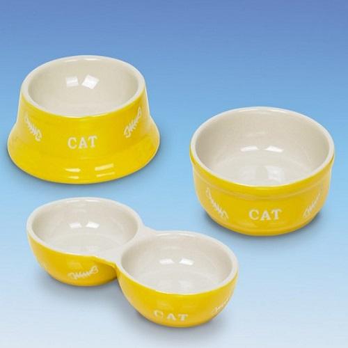 Nobby posoda keramika dvojna, rumena in bež - 14 cm