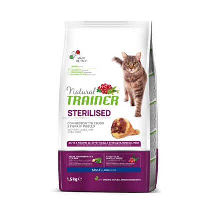 Trainer Cat Natural Sterilised - pršut - 1,5 kg