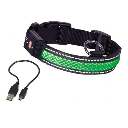 Nobby Flash Mesh LED ovratnica - zelena - različne velikosti 34 - 41 cm