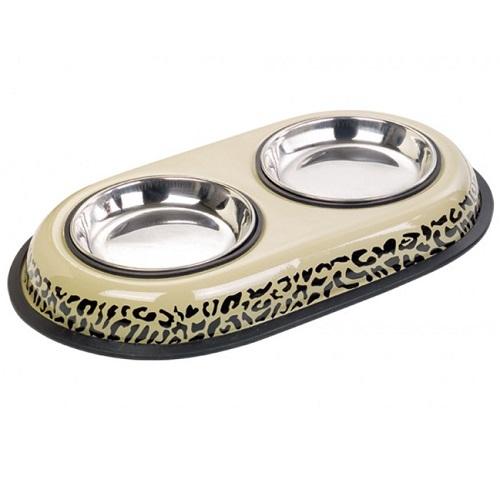 Nobby kovinska posoda dvojna, leopard - 12 cm/2x0,2 l