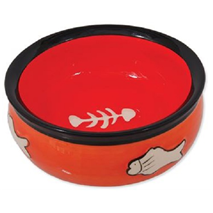 Dog Fantasy posoda keramika, oranžna - 12 cm/220 ml