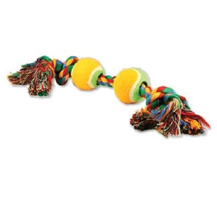 Dog Fantasy igralna vrv z dvema teniškima žogicama - 35 cm