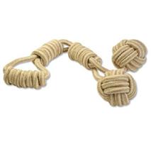 Dog Fantasy igralna vrv iz jute z dvema žogicama - 60 cm