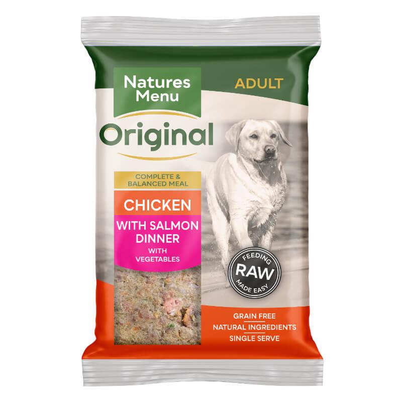 Natures Menu Bricks - piščanec, losos z zelenjavo - 300 g - zamrznjeno