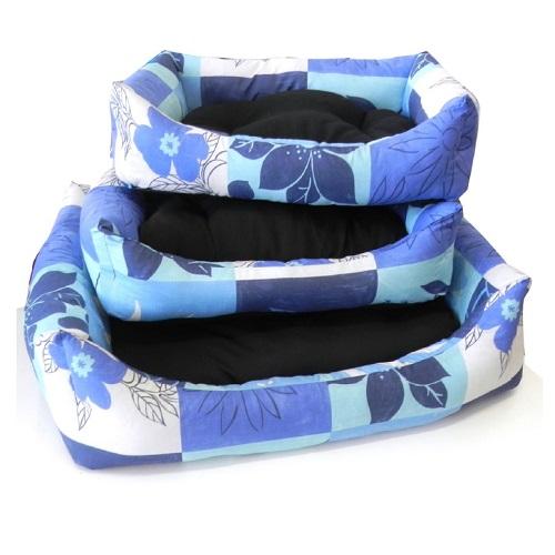 Leopet oglato ležišče Domino, črna/modra - 45x60 cm