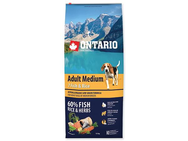 Hrana Ontario Adult Medium- 7 rib in riž- 12 kg