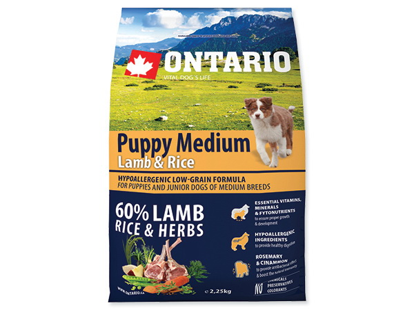 Ontario Puppy Medium - jagnjetina in riž 2,25 kg