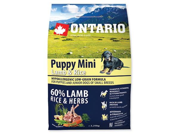 Ontario Puppy Mini - jagnjetina in riž 2,25 kg