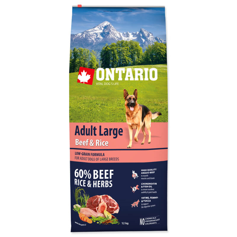 Ontario Adult Large - govedina, puran in riž 12 kg