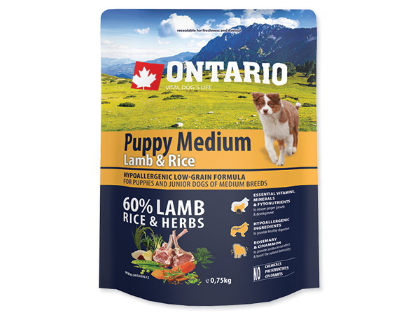 Ontario Puppy Medium - jagnjetina in riž 750 g