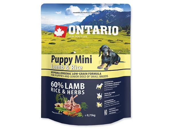 Ontario Puppy Mini - jagnjetina in riž 750 g