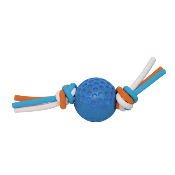 Nobby gumijasta žoga na silikonski vrvi, modra – 5 cm