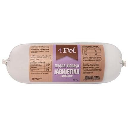 4Pet - mesna klobasa: jagnjetina in piščanec- 400 g