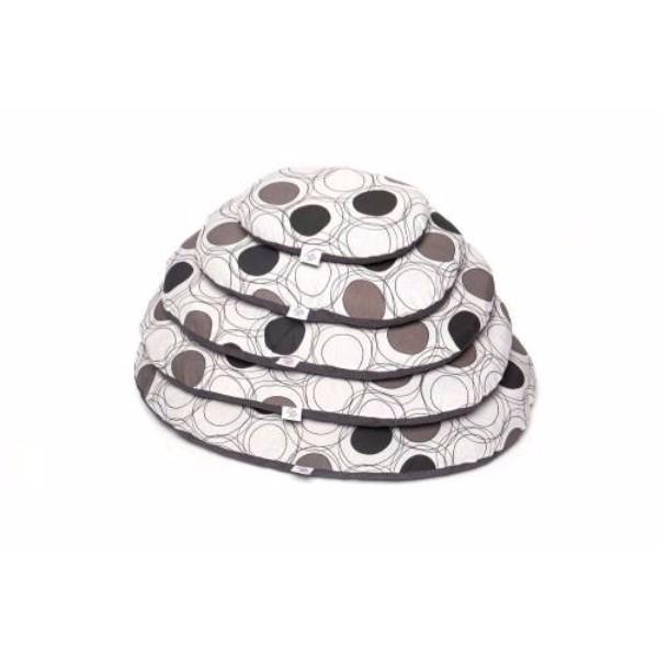 Leopet ovalna blazina Crono, bela s krogi - 80x54 cm