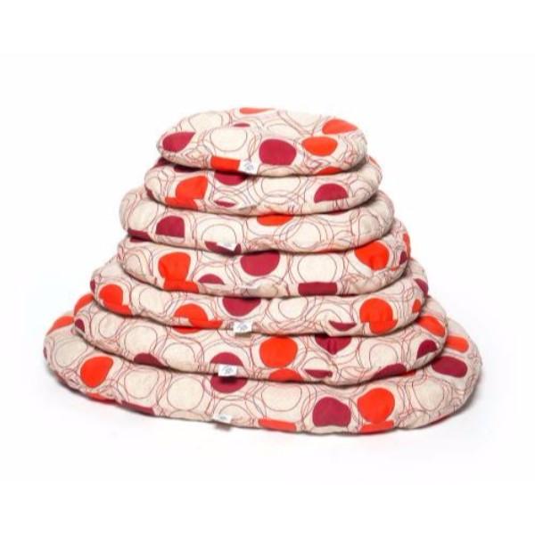 Leopet ovalna blazina Nettuno, rdeča s krogi - 90x65 cm