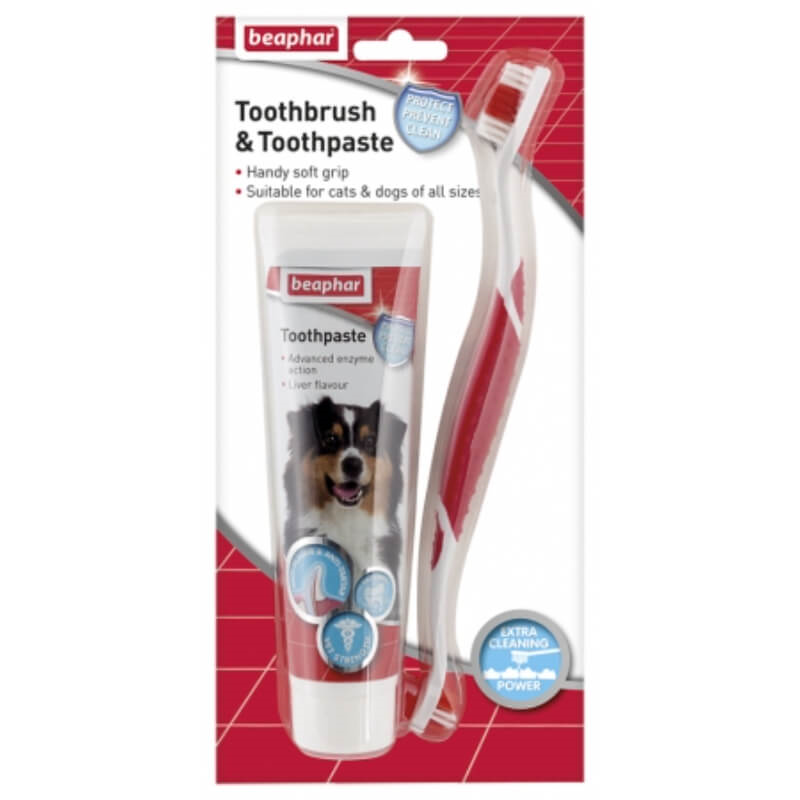 Beaphar zobna ščetka in encimska zobna pasta - 100 g