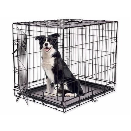 Dog Fantasy kovinski boks L, črn - 91,5 x 63,5 x 58,5 cm