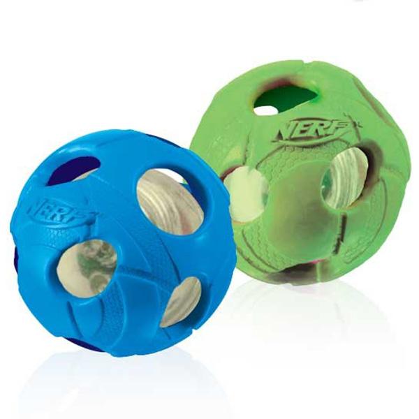 Nerf LED Bash Ball svetleča žoga, modra in zelena - 6,4 cm