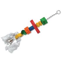 Bird Jewel igrača za ptice, les, vrv in zvonček - 50 cm