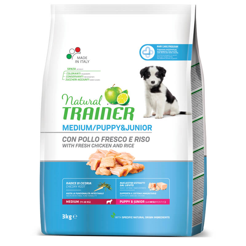 Trainer Natural Puppy&Junior Medium - sveži piščanec 3 kg