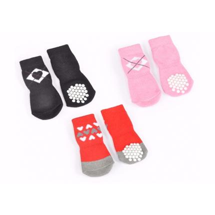 Camon non-slip nogavice, rdeče s srci - 5 cm (4 kos)