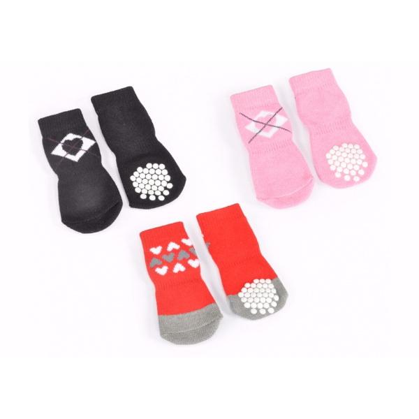 Camon non-slip nogavice, rdeče s srci - 7 cm (4 kos)