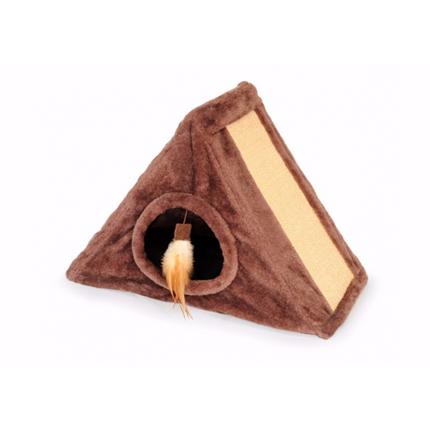 Camon praskalnik/skrivališče trikotnik, rjav - 45x33 cm