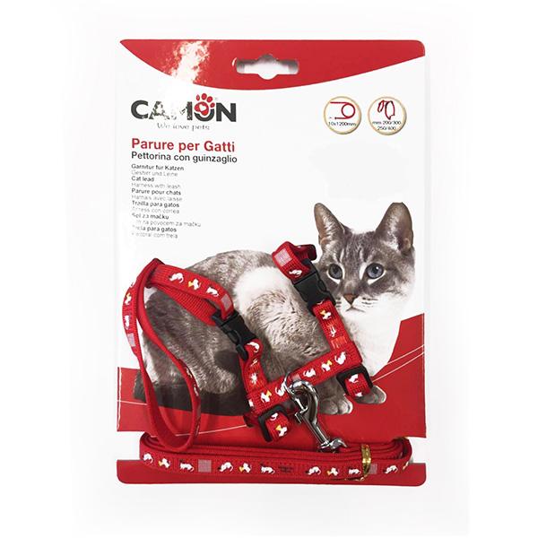 Camon oprsnica+povodec za mačke Maca, rdeča/modra/črna