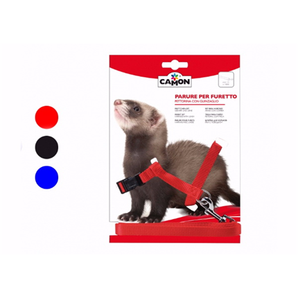 Camon oprsnica+povodec za dihurje, rdeča/modra/črna