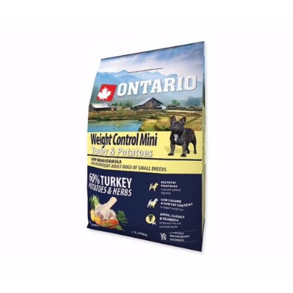 Ontario Adult Mini Weight Control - puran in krompir 2,25 kg