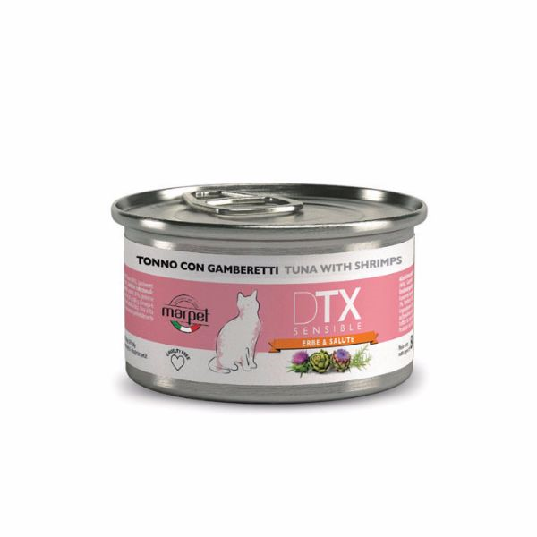 DTX Cat konzerva - tuna in kozice - 80 g