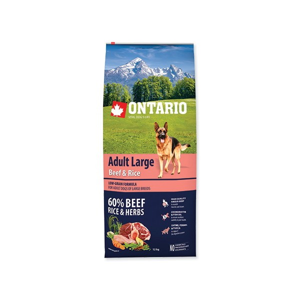 Ontario Adult Large - govedina, puran in riž 2 x 12 kg