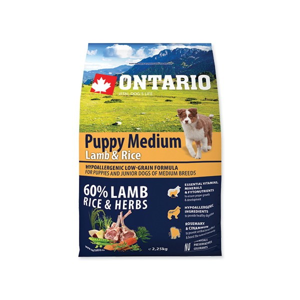 Ontario Puppy Medium - jagnjetina in riž 2 x 6,5 kg