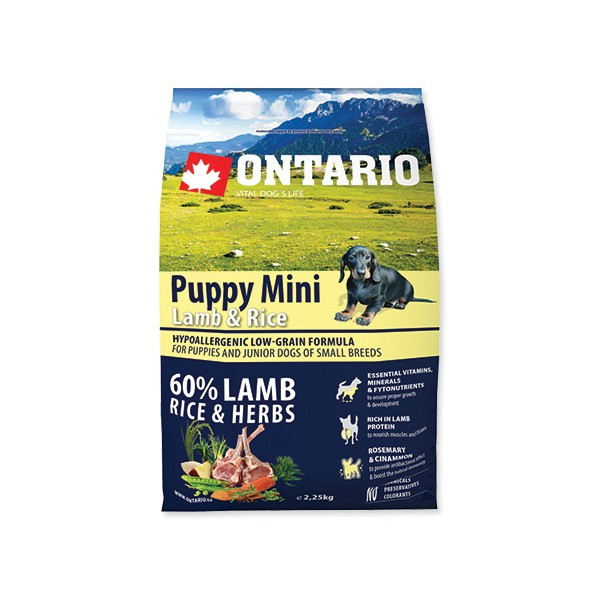 Ontario Puppy Mini - jagnjetina in riž 3 x 2,25 kg