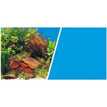 Marina ozadje tapeta, rastline in kamenje / modro - 30 cm (cena za meter)