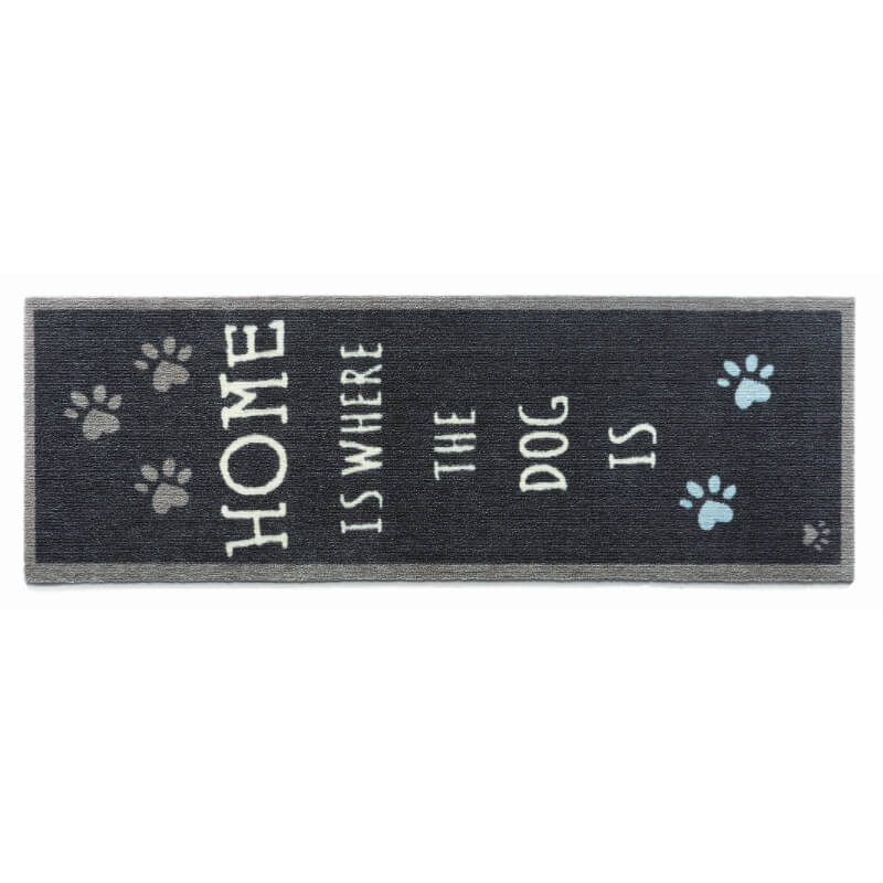 Preproga Home Is Where The Dog Is, temno modra - 50 x 150 cm
