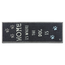 Preproga Home Is Where The Dog Is, temno modra - 50 x 150 cm