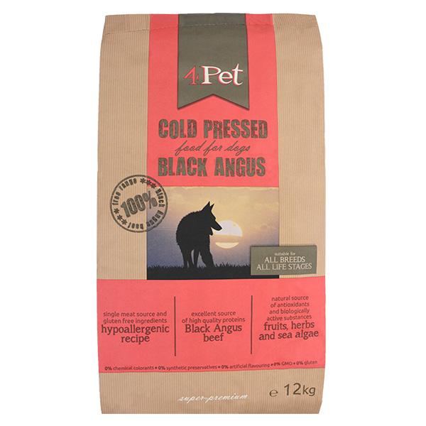 4Pet hladno stiskana hrana - Black Angus govedina 12 kg