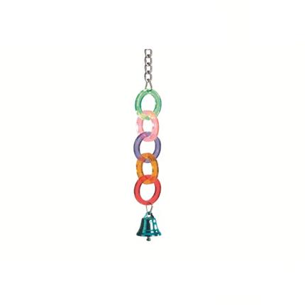Beeztees igrača za ptice akril obročki in zvonček - 24 cm