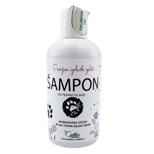 Cvetka bio zeliščni šampon za kužke Grom (za temno dlako)