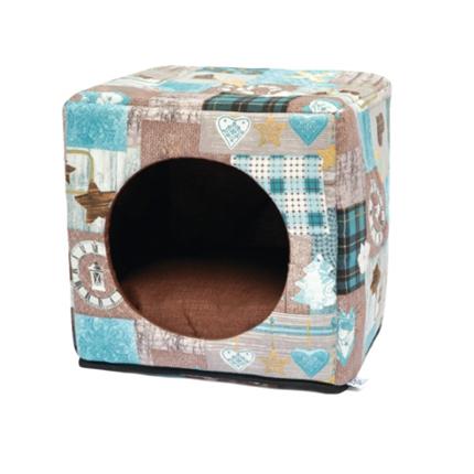 Leopet kocka Cubo, modra - 40 x 40 x 40 cm