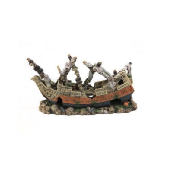 Aquatlantis dekor, mala ladja potopljena - 46 x 15 x 24 cm